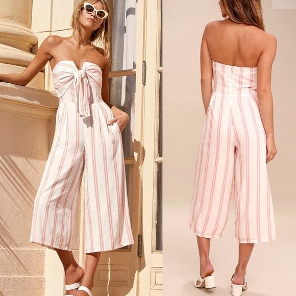 2c2d22ac38f Blush Pink   White Striped Strapless Jumpsuit